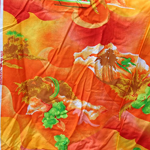 Vintage GVH HawaiiPrint Tropical Cotton Fabric 2.86 Yd, 44 Inch W