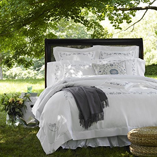 Check Price Sferra Janella White Wisteria Embroidery King Duvet