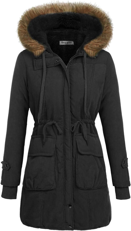 Beyove Women's Warm Winter Faux Fur Lined Parka Hooded Jacket Coat Black L