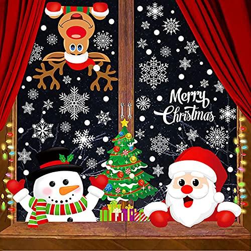 Natale Adesivi Vetrofanie Alce Babbo Natale Albero di Natale Grande Pupazzo di Neve Fiocco di Neve Decorazioni per Vetrine Finestra Rimovibile Murali Fai da Te Sticke Statico Natale,21 * 29.5 cm
