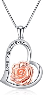 Sterling Silver Rose Flower Necklace,Earrings,Rose Gold I Love You Forever Rose Heart Jewelry Gifts for Women Girls Her