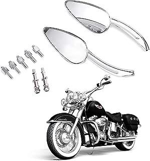 8mm/10mm Motorcycle Chrome Skull Teardrop Rearview Side Mirrors For Harley Dyna Electra Glide Cross Bones Fatboy Heritage Softail Iron Night Rod Road Glide King Rocker Sportster