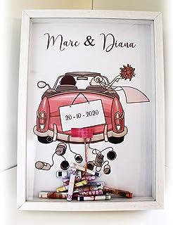 Didart Handmade Cuadro para bodas para regalar dinero. Personalizado. Modelo coche rosa. Varios modelos a elegir. Tamaño A...