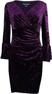 Lauren by Ralph Lauren Women's Petite Bell-Sleeve Velvet Dress (12P, Maroon)