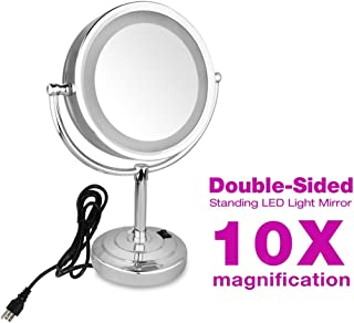 GURUN 8.5-Inch Tabletop Double-Sided LED Lighted Makeup Mirror with 10x Magnification, Plug power, Chrome Finish M2208D(8.5in,10x)