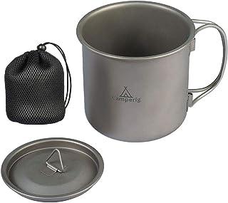 Camperig Titanium Cup 400ml Camping Mug Foldable Handle Titanium Pot with Lid & Mesh Bag Outdoor Camping Ultralight Water ...