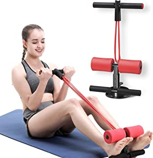 AmazeFan Sit Up Bar with Resistance Bands, Portable Adjustable Sit Up Assistant Device, Ab Workout Equipment with Suction Cups, Support Rode, Ab Exercise Machine for Home Work Travel