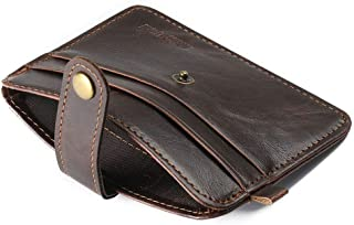 Masculina Women Horse Crazy Men Clutch Hasp Leather Small Mini Wallets Purse Dark Coffee