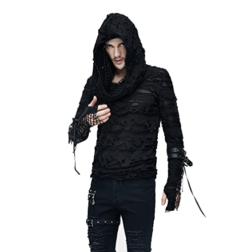 a2389b266598a Gothic Mens Fashion Black Holes Mesh Long Sleeve T Shirt Steampunk Men  Casual Rock Tops Hoodie