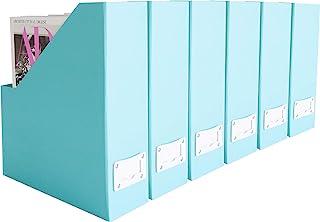 Blu Monaco Foldable Aqua Magazine File Holder with Leather Label Holder â Set of 6 â Cardboard Magazine File Boxes Des...