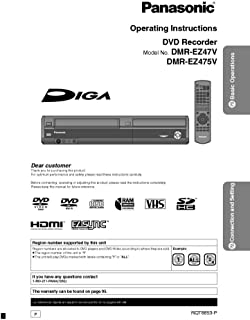 Panasonic DMR-EZ47V DMR-EZ475V DVD Recorder Owners Instruction Manual Reprint [Plastic Comb] Every Instruction Manual