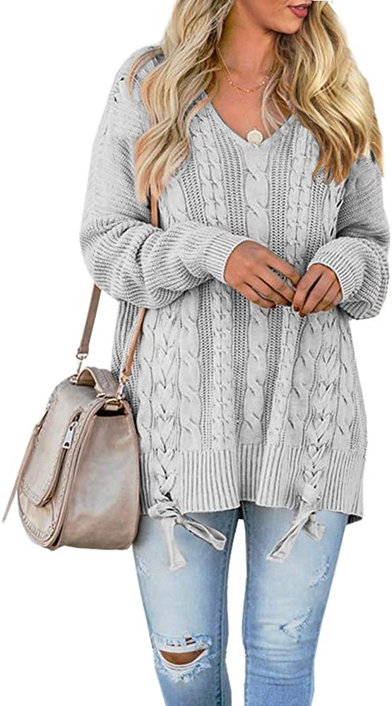 Womens Sweaters Plus Size Fall Cable Knit V Neck Pullover Lace Up Long Sleeve Knit Jumper Tops