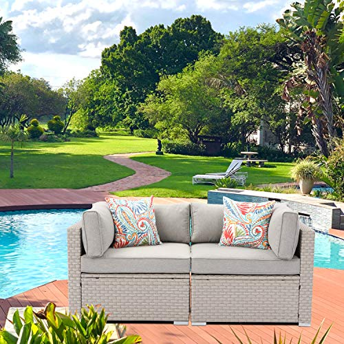 AQUILLA 2 Pieces Outdoor Furniture All Weather Patio Handwoven Loveseat w Warm Gray Seat Cushions, 2 Bohemian Flower Pillows for Garden, Pool, Backyard