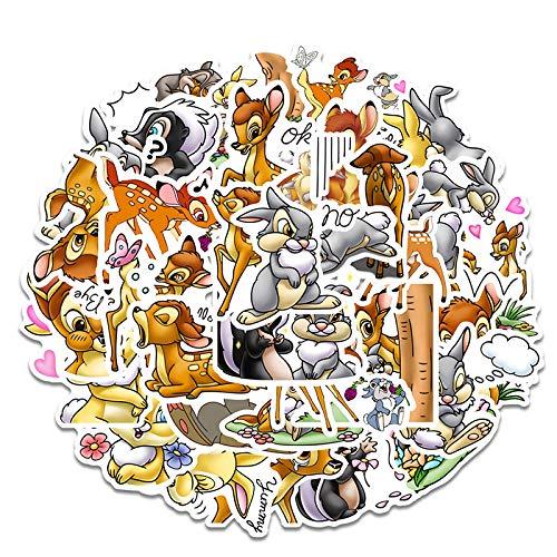 JZLMF 34 dibujos animados de ciervos adhesivos para maleta, portátil, taza, teléfono móvil, tableta, pegatinas