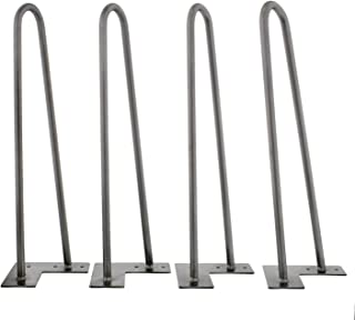 7Penn Hairpin 16in Leg 4-Pack – Silver/Raw Steel Metal Furniture Legs for Bench, Coffee Table Legs, and More