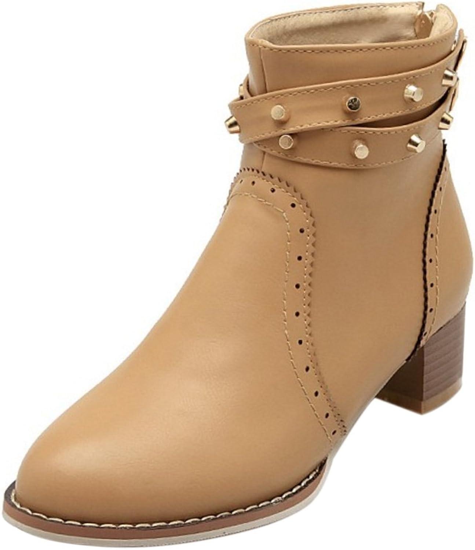 KemeKiss Women Fashion Winter Warm shoes Block Heel Zipper Booties