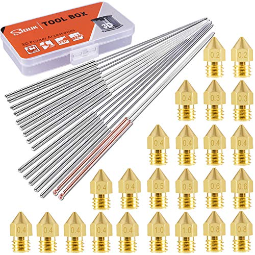 SIQUK 24 Pcs MK8 Nozzles 0.2mm, 0.3mm, 0.4mm, 0.5mm, 0.6mm, 0.8mm, 1.0mm with 16 Pcs Nozzle Cleaning Needle 0.15mm, 0.25mm, 0.35mm, 0.4mm, 0.5mm with Storage Box for 3D Printer Makerbot Creality CR-10