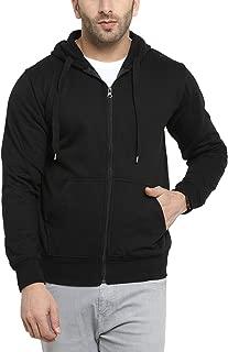 Scott International Men's Cotton Pullover Hoodie Sweatshirt with Zip - Black