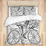 Juego de cama de 3 piezas ,Bicicleta escandalosa jovencita masticando chicle en su bicicleta en la...