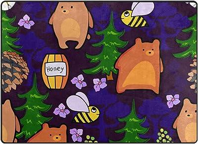 "My Little Nest Area Rug Bears Bees in Forest Lightweight Non-Slip Soft Mat 4' x 5'3"", Memory Sponge Indoor Outdoor Decor Carpet for Living Dining Room Bedroom Office Kitchen"