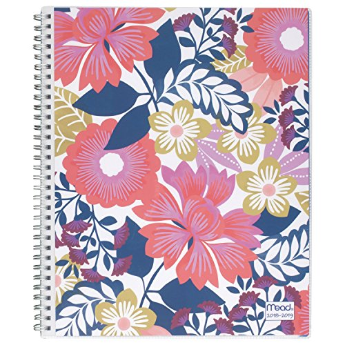 Mead 2018-2019 Academic Year Weekly & Monthly Planner, Large, 8-1/2 x 11, Customizable, Animal Floral, Multicolor Floral (CAW566D1)