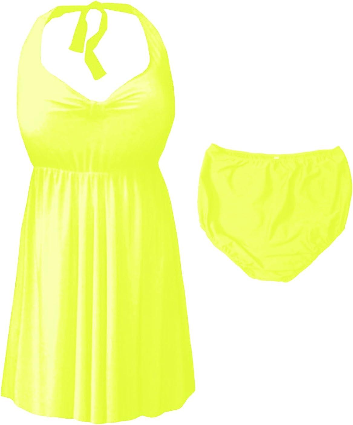Sanctuarie Designs Neon Yellow 2-PC Halter Style Plus Size Swimdress