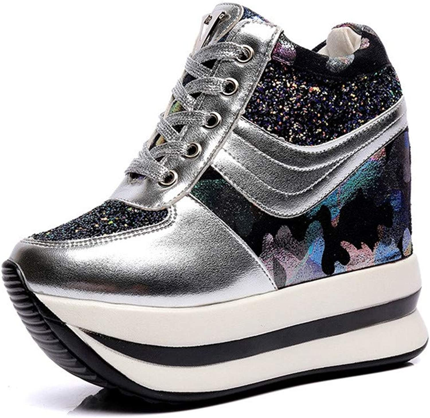 Btrada Women High Top Hidden Heel Wedges Sneakers Fashion Platform Sneaker Casual Lace up Walking shoes