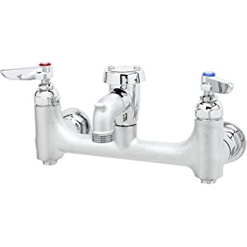 T S Brass B 0674 Bstr Wall Mount Service Sink Faucet With 8 Inch Centers Vacuum Breaker Built In Stops Rough Chrome Utility Sink Faucets Amazon Com