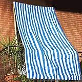Bakaji - Toldo parasol a rayas de HDPE resistente con protección UV 90% para balcón y porche, tamaño 150 x 290 cm, con anillas de enganche (azul)