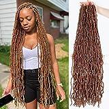 36 Inch Faux Locs Crochet Hair Super Long Soft Locs Crochet Braids Hair 4 Packs/lot 180g Goddess Locs Dreadlocs Synthetic Hair Extend Pre Looped brown Soft Locs Braiding Hair for Women (36 Inch, 30#)