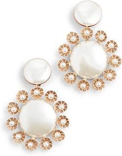 Women's Round Earrings with Plumeria Trim