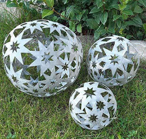 3er Set Dekokugeln Gartenkugeln Stern Sterne Metall 10+14+19cm Grau Kugel Gartenkugel Deko für INNEN + AUSSEN Dekokugel