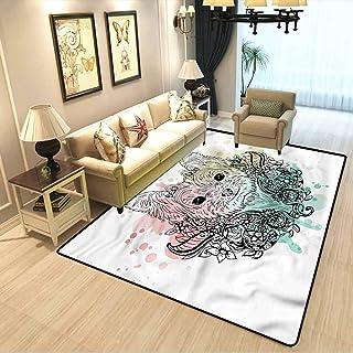 Yorkie Couple Bedroom Carpet Cute Dog Sketch Flowers Room Carpet,Stairs Carpet,Carpet Rug W5 x L7 Feet