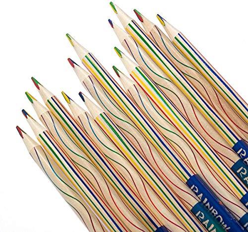 4in1 Regenbogen Buntstift Set, Regenbogen Farbe Bleistift,Zeichnung Bleistift,Buntstift Zauberstift für Kunst Zeichnung Färbung und Skizzieren,(30PCS)