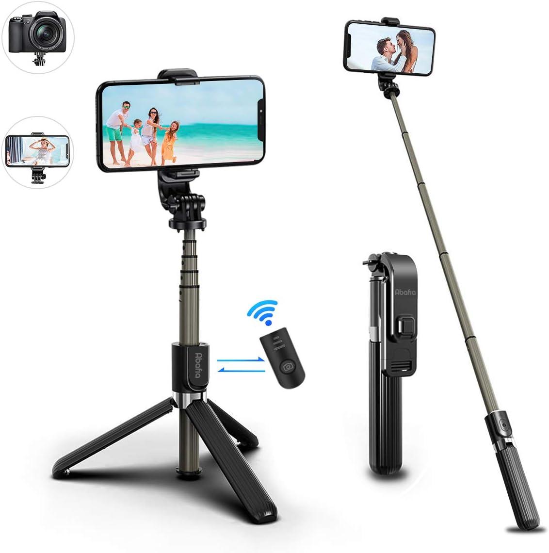 Abafia Palo Selfie, Mini Tripodes para Moviles 3 en 1 Extensible Stick, Selfie Stick con Control Remoto Bluetooth para iPhone/Galaxy/Honor/Redmi/Otros Teléfonos Inteligente con Android/iOS, Caméra