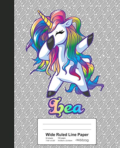 Wide Ruled Line Paper: LEA Unicorn Rainbow Notebook (Weezag Wide Ruled Line Paper Notebook)
