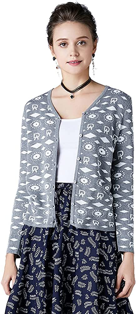 Women's Jacquard Cardigan Long Sleeves V-Neck with Checkered Prints,Mixed Color Knitwear