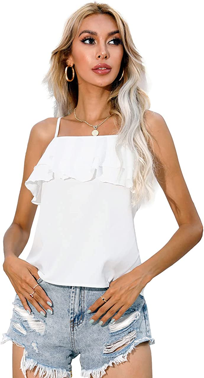 Vetnasa Women's Cold Shoulder Layered Ruffle Sexy Cami Tank Tops for Summer