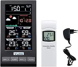 VLIKE Estación meteorológica con 1PCS sensores Estación meteorológica al Aire Libre Radio Control Reloj Círculo Pantalla Temperatura y Humedad