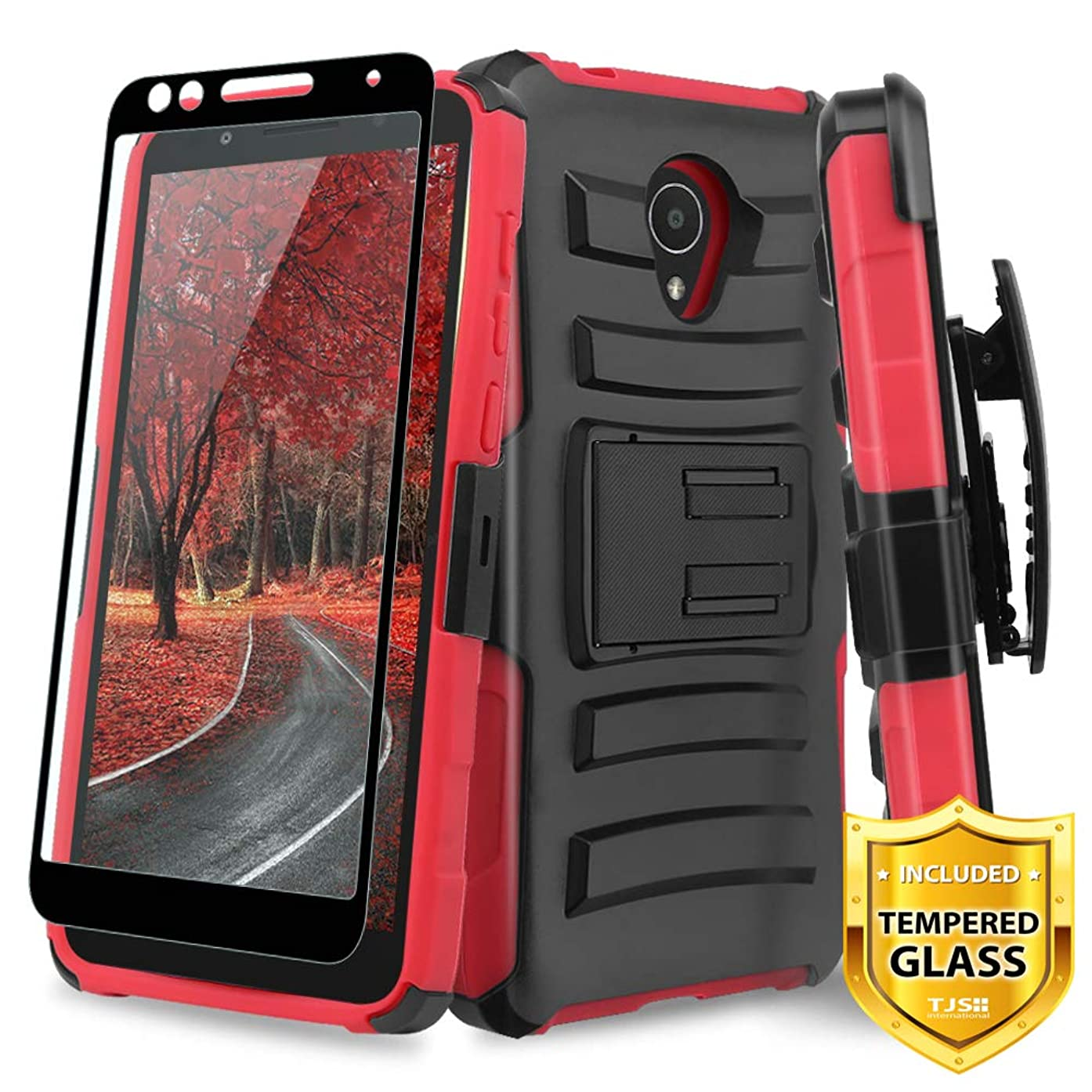 TJS Case for Alcatel Avalon V 5059S/Alcatel 1X Evolve/Alcatel IdealXtra 5059R/Alcatel TCL LX A502DL with [Full Coverage Tempered Glass Screen Protector] Belt Clip Holster Kickstand Phone Cover (Red)