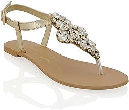 Amazon.co.uk: Gold Flat Sandals for Women