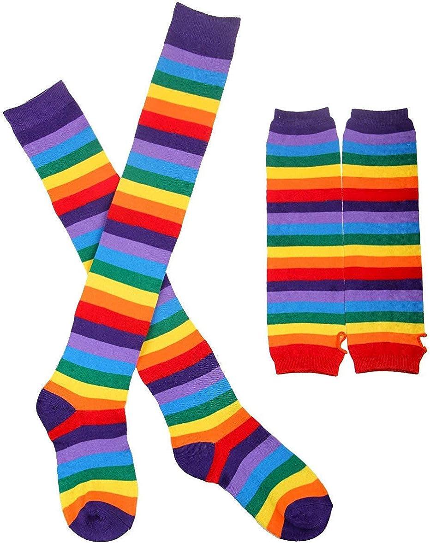 Striped Socks Ranking TOP2 Women Knee High Opaque Long Rainbow Rare Socking Gloves