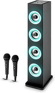 auna Karaboom PK LED Juego de Karaoke para niños - Torre Audio de Banda Ancha , Bluetooth , USB , AUX , Reproductor MP3 , Potenciador Bajos , Radio VHF , Negro