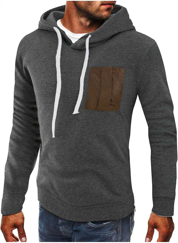 Mens Fashion Athletic Hoodies Sport Sweatshirt Colorblock Fleece Pullover Tops Blouses