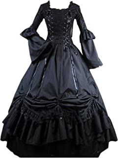Womens Square Collar Lace Up Gothic Lolita Dress Ball Victorian Costume Dress