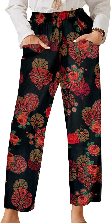 BZSHBS Linen Pants for Women Floral Print Wide Leg Elastic Waist Capri Pants Cropped Trousers with Pockets