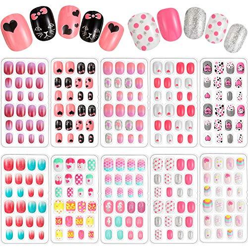 240 Pieces Children False Nails Kids Girls Press on Short Artificial Fake Nails Cute Pre Glue Full...
