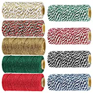 9 Rolls 9 Color 495 Yard Holiday Bakers Twine Strings Bulk Decorative Christmas Twine Gift Hanging Cotton String Packing Trim Cord Colored Rope Natural Jute Twine Rustic Hemp Cord for Gift Wrapping