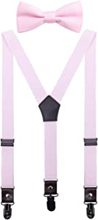CEAJOO Men Boys' Suspenders and Bow Tie Set Adjustable with Black Metal Clips