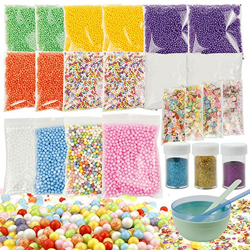 NEWFUN Slime Foam Beads and Fruit Slices with Slime Tool Glitter Shake Jars Colorful Balls for Art Craft Slime Making Kit Wedding and Party Decoration Foam Balls for DIY 27 Pack